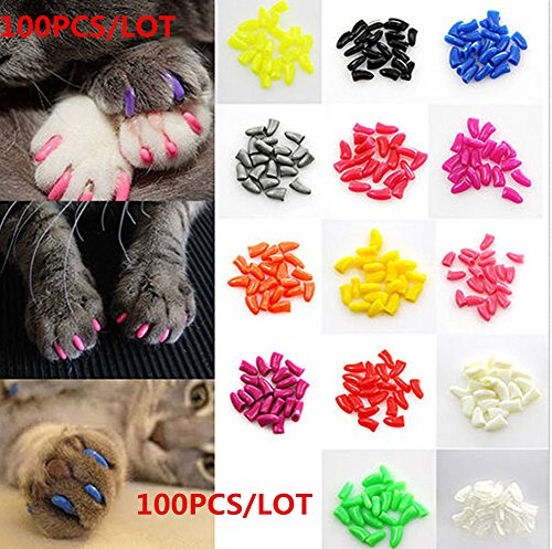Brostown 100Pcs Cat Nail Caps Claws Soft Paws of 5 Colors with Adhesive Glues Applicators Instructions (M)