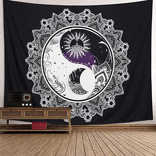 Dremisalnd Tapiz de Pared Psicodélico Tapiz Sol y Luna Tapiz Yin Yang Blanco y Negro Colgar en la Pared Mandala Indio Mantas de Pared Mural Tela Decoración del Hogar (Patrón 2, L/200x148cm(79x58inch))
