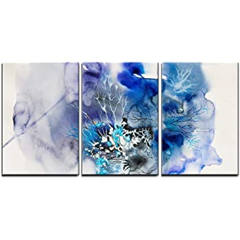 """wall26 - 3 Piece Canvas Wall Art - Abstract Painting of Blue Flowers - Modern Home Art Stretched and Framed Ready to Hang - 16""""x24""""x3 Panels"""