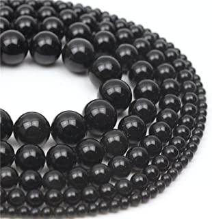 Oameusa 10mm Black Obsidian Stone Natural Round Smooth Beads Gemstone Beads Loose Beads Agate Beads for Jewelry Making 15