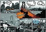 welt-der-träume | papel pintado mural de papel para pared (130g/m² Papel | Comics ciudades | | 10676_ ve-aw | ciudad urbana Comics puente Nueva York Taxi América, Black and White,yellow, VEXXL