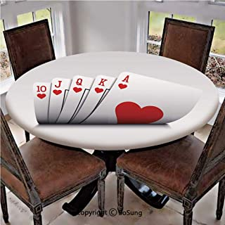 Elastic Edged Polyester Fitted Table Cover,Royal Flush Playing Cards Hearts Betting Bluff Gambling Decorative,Fits up 40