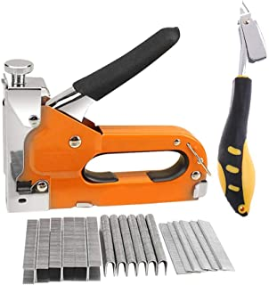 NUZAMAS Heavy Duty Staple Gun Kit, includes Staple Gun, 600 Staples (200 each U shape, door shape, T shape) and Staple Remover for Diy Applications, Plastic Body, Hand Operated 3 Way Stapler