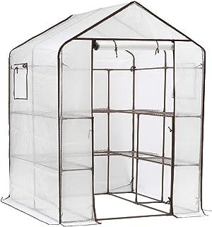 Sekey Invernadero de plástico con 10 estantes Invernadero con Puerta y Ventanas para enrollar Balcón caseta de Tomates Invernadero Exteriores Invernadero de jardín Carpas de Invernadero 143x143x195cm