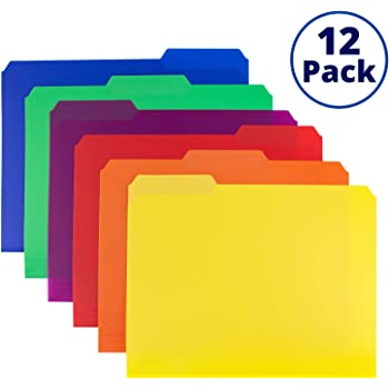 Colored Plastic 3-TAB File Folders (12 Pack, 6 Assorted Colors) Letter Size, 1/3-Cut Tabs, Labels Included, Writable Erasable Top Tabs, Durable, Tear-Resistant, Acid-Free for Document Filing Storage