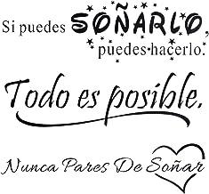 3pcs Pegatinas Pared Vinilos Frases Motivadoras Citas Inspiradoras Español Letras Stickers Adhesivos Negro Decorativos Hab...