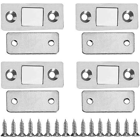 Placard Loquet de porte magnétique ultra-mince durable puissant Kit avec Vis Aimant Loquet pour les portes d'armoires les tiroirs les meubles 4 set
