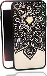 iPhone 8 Case,iPhone 7 Case,Tropical Flower Printed Slim Fit Case for Girls Soft Bumper Shockproof Hard Matte Back Cover Lace Totem Henna Design for iPhone 8 iPhone 7 Black Floral Mandala