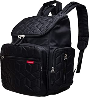 Bebamour Nappy Changing Bag Backpack Nylon Waterproof Nappy Backpack with Changing Mat (Black)