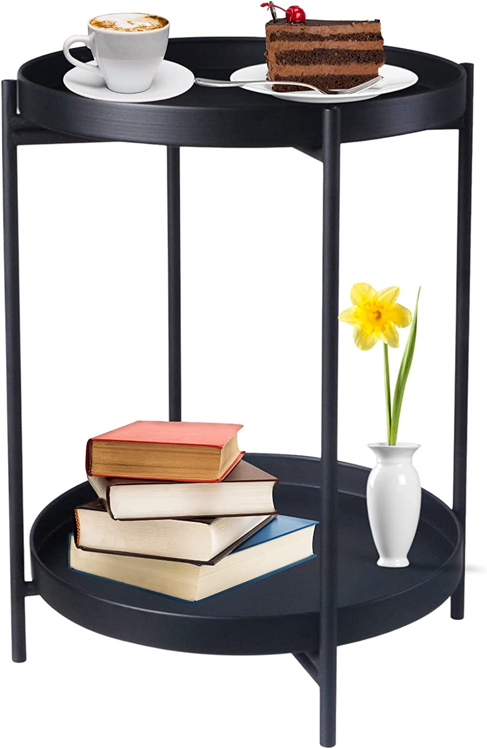 Some reservation Mairuker End Table 2 Tiers Coffee Folding Max 54% OFF Round Side Metal