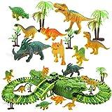 Bloques de Construcción 153pcs / Set niños Juguete Dinosaurio eléctrico riel Coche DIY Intercambiable montado Building Block Pistas sobre Dinosaur Hill Juguete Regalo asshow