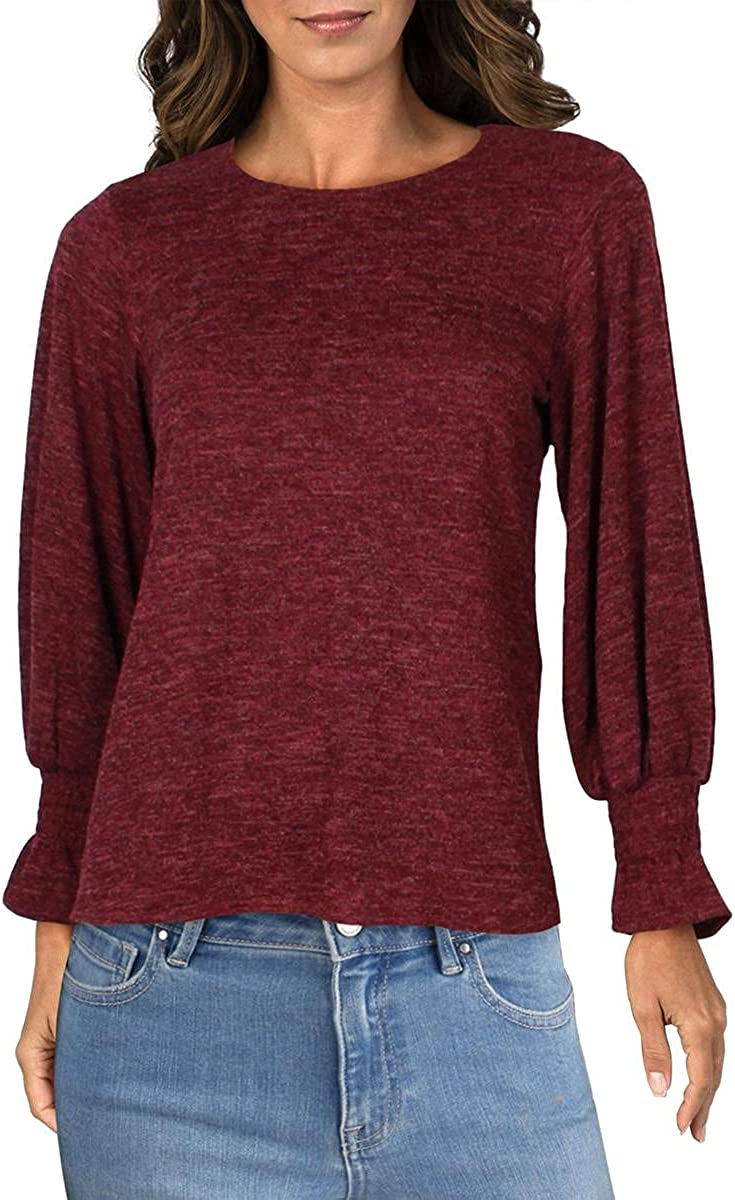 Status by Chenault Womens Knit Smocked Crewneck Sweater