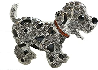 From the Heart Dalmatian or Spotted Black Puppy Brooch Pin is Embellished with Black Enamel & Gray Crystal Rhinestones-Gold Crystal Collar.Fantastic Gift for a Dalmatian Dog Mom- Beautiful!