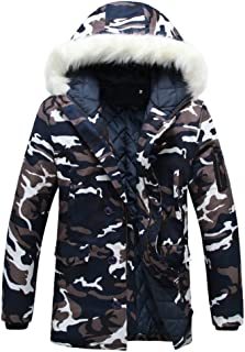 ZiXing Men's Camouflage Coats Outdoor Combat Winter Jackets Parka with Hooded Faux Fur