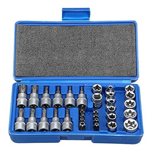ANFAHR Juego de llaves de vaso Torx con puntas Torx y soporte...