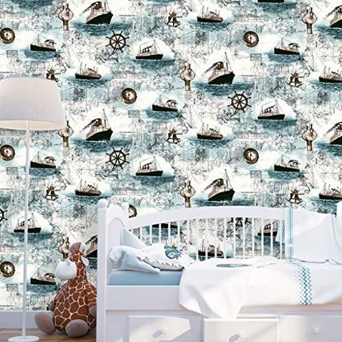 Papel pintado fondo de pantalla Autoadhesiva del papel pintado mar Mediterráneo Vela Vela infantil impermeable del papel pintado dormitorio de estar Estudiante habitación compartida de Escrito