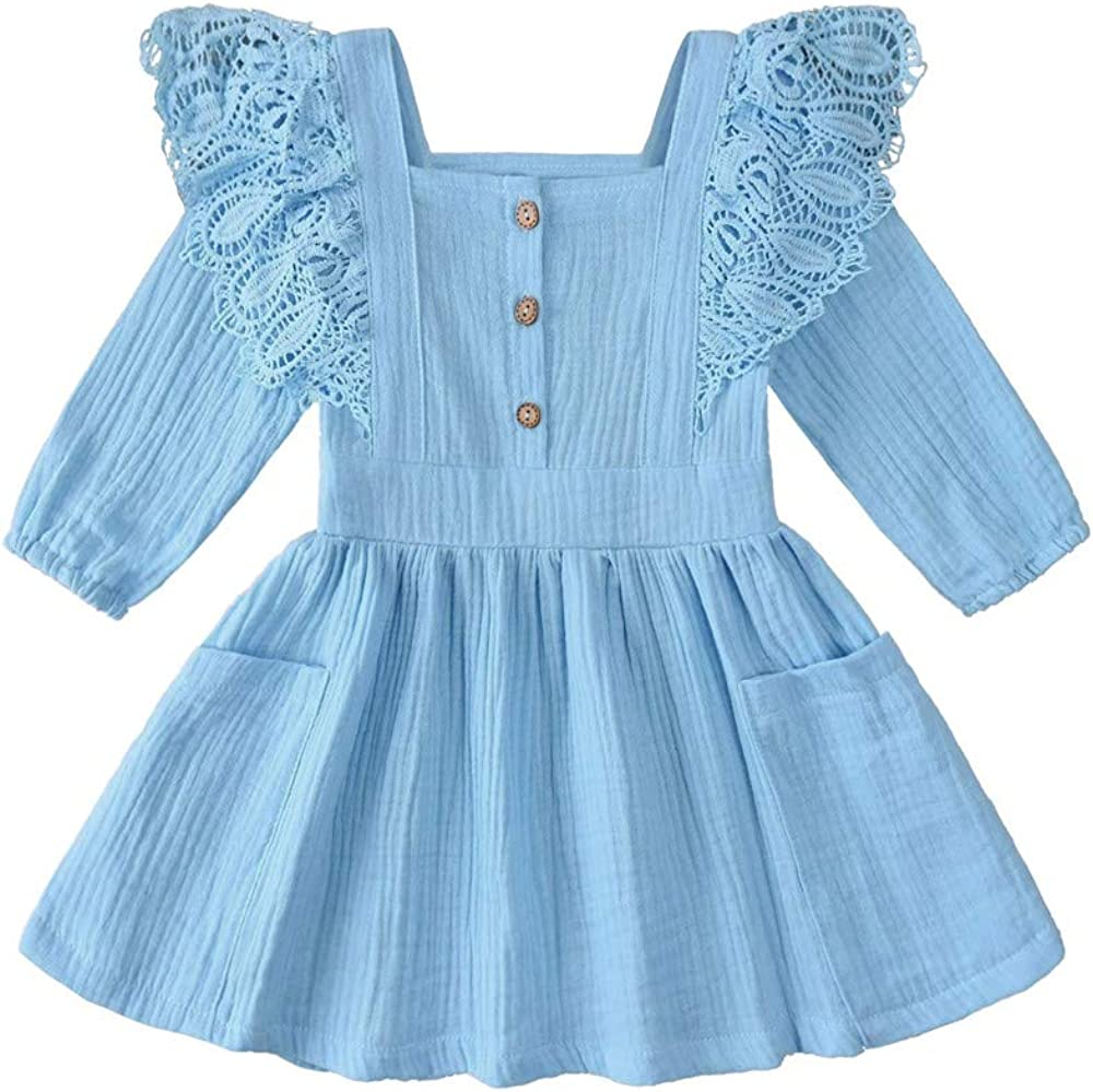Toddler Baby Girl Cotton Button Max 69% OFF Solid Pocket Floral Dress Ruffle Limited Special Price