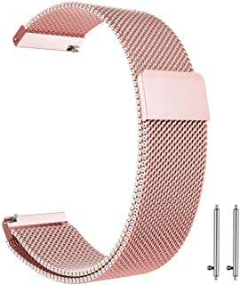 22mm Milanese Loop Watch Band Magnetic Closure Mesh Stainless Steel Replacement Strap for Samsung Gear S3 Frontier / S3 Classic/Huawei Watch 2 Classic - Pink