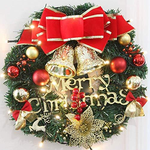 QTMHT Kerstkrans, met lint en bellen rotan PVC, buiten binnen kerstkransen deur opknoping decoraties