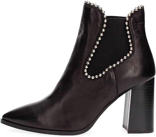 CAF Noir LC431 Chaussure Femme Noire avec Bouts de Cheville 37