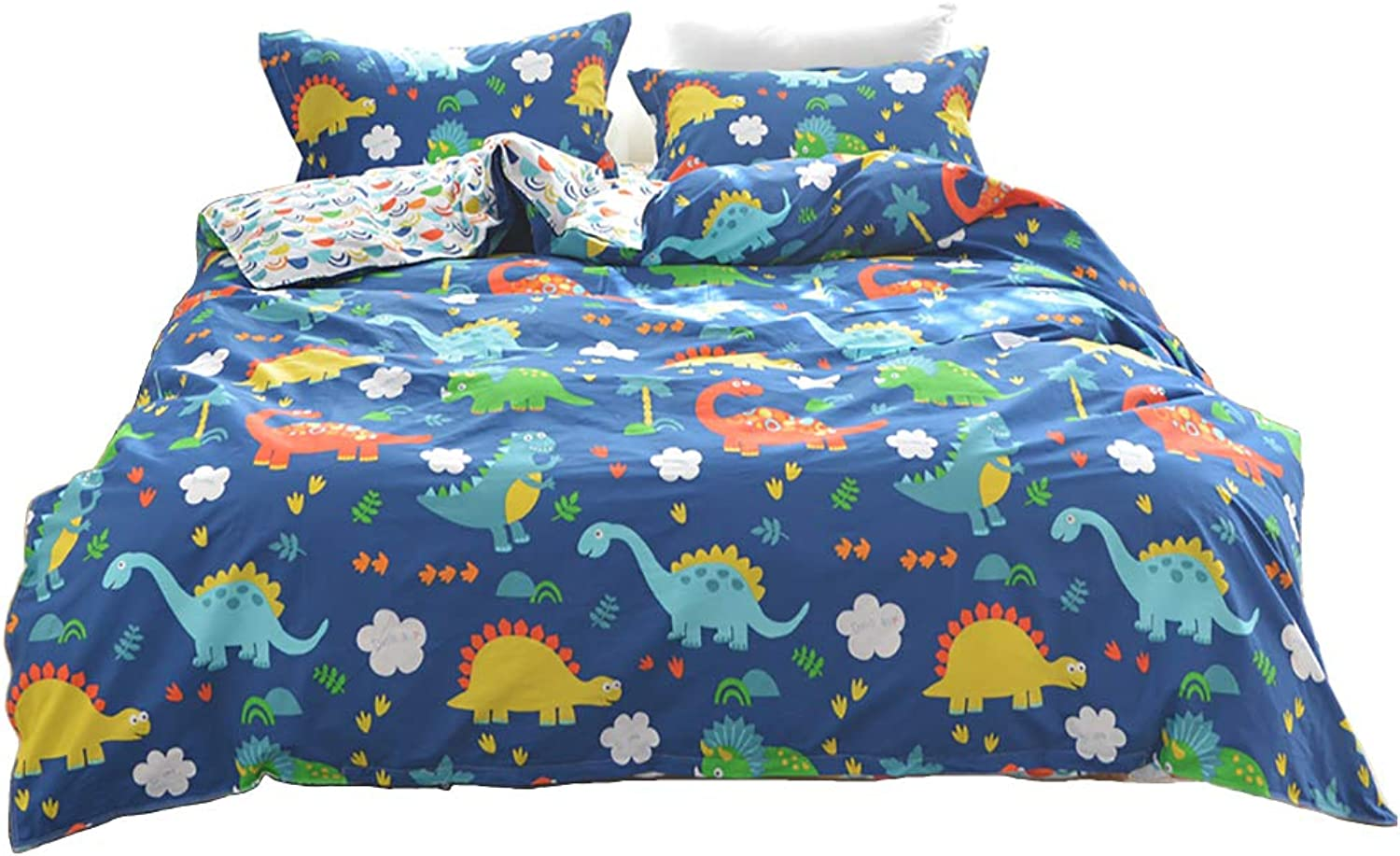 Warm Embrace 100 Percent Cotton Duvet Cover Set Dinosaur Pattern bluee Boys Bedding,Duvet Cover and Pillowcases,Full Queen Size,3 Piece