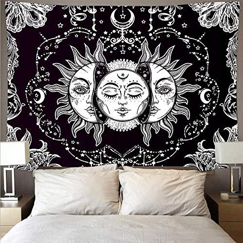 Tapiz Colgante de pared Blanco y negro Sol Dios Astrología Tarot Tapices psicodélicos Tapiz de pared Arte abstracto Manta Dormitorio Decoración-200X150cm