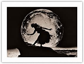Full Moon Dancer - Hawaiian Hula Dancer Silhouette - Vintage Sepia Toned Photograph by Alan Houghton c.1960s - 100% Pure Carbon Archival Inks - 290gsm Bamboo Paper Fine Art Print 12x16in