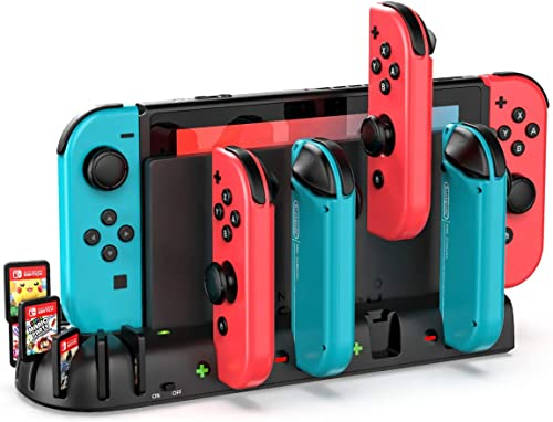 KDD Controller Charger Dock Station Compatible with Nintendo Switch, Charging Dock Station with 8 Game Slots