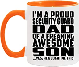 Proud Security Guard Dad Of Awesome Son - 11oz Accent Coffee Mug Orange Ceramic Tea-Cup - for Father Dad Him from Daughter...
