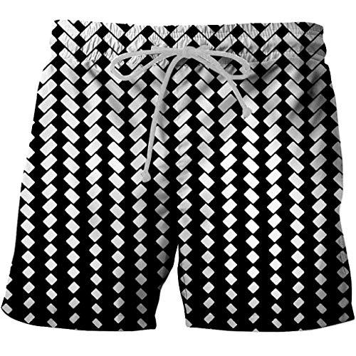 ZHANSANFM Shorts Herren Hawaii Strandhose Verstellbarem Tunnelzug Neuheit 3D Drucken Kurze Hose Sport Sommer Schnelltrocknende Laufshorts Fitness Joggen Sporthose (XS, Schwarz-3)