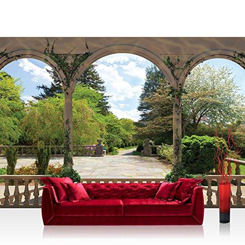 Fototapete 368x254 cm PREMIUM Wand Foto Tapete Wand Bild Papiertapete - Landschaft Tapete Garten Bäume Blumen Säulen Bögen grün - no. 2629