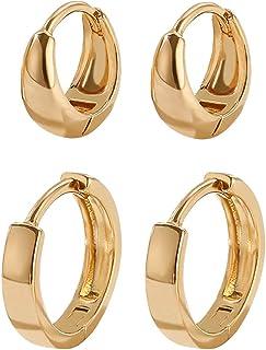 2 Pairs 14k Gold Filled Huggie Hoop Earrings Set Small Gold Hoop Earrings Hypoallergenic Dainty Tiny Cartilage Earrings Mi...