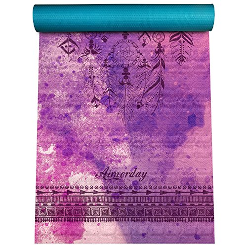 AIMERDAY Premium Print Yoga Mat Extra Thick 1/4' Non Slip Eco Friendly High Density Anti-Tear 72 x 24 Inch Fitness Exercise Mat Floor Pilates Workout Mat for Yoga with Carrying Strap & Bag 6mm
