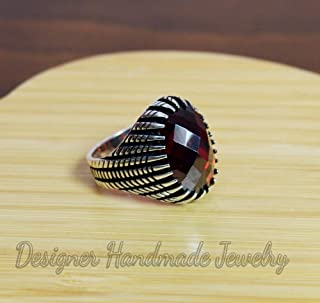 BRILLIANT CUT GEMSTONE RING, MENS HANDMADE RING, TURKISH HANDMADE SILVER MEN RING, OTTOMAN