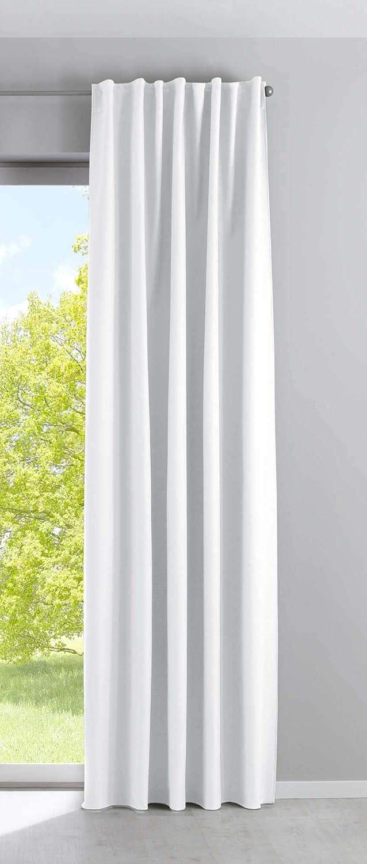 R/églable Gardinenbox Rideau occultant Milano en Velours Opaque avec Cordon de Serrage et Bande de Repassage Blackout 100/% Polyester 235 x 135 cm Cr/ème