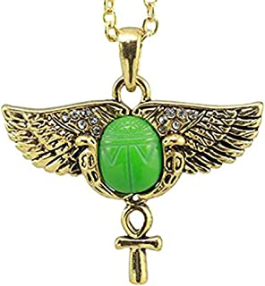 Ebros Egyptian Golden Winged Scarab with Ankh Amulet Pendant Necklace with Austrian Crystals Auspicious Beetle with Crux Ansata Fashion Jewelry Accessory