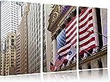 Amerikanische Flagge in New York 3-Teiler Leinwandbild 120x80 Bild auf Leinwand, XXL riesige Bilder fertig gerahmt mit Keilrahmen, Kunstdruck auf Wandbild mit Rahmen, gänstiger als Gemälde oder Ölbild, kein Poster oder Plakat