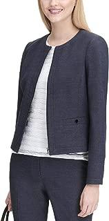 Womens Collarless Office Jacket Navy 8