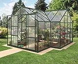 Vitavia serra Sirius Orangerie – ESG 3 mm Verde scuro, superficie: ca. 13 m², con 4 finestre da tetto, Fondamenta in acciaio, dimensioni: altezza 6 cm, Base: 3,81 x 3,81 m