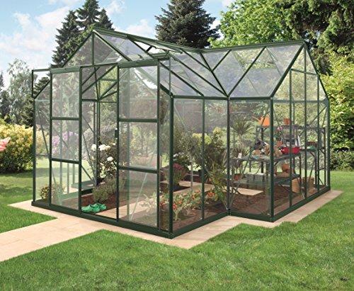 Gartenwelt Riegelsberger Gewächshaus Sirius Orangerie - ESG 3 mm dunkelgrün, Fläche: ca. 13 m², mit 4 Dachfenster, inkl. Stahlfundament 6 cm hoch, Sockel: 3,81 x 3,81 m