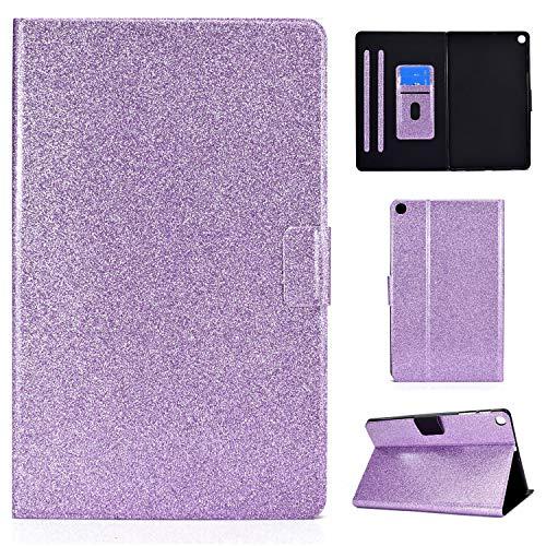 ANCASE Fundas duras para Tablets Samsung Galaxy Tab A 10.1 2016 T580 T585 T587 con Tapa Libro PU Case Cover Brillo Brillante Bling Completa Protectora Carcasa de Cuero, Púrpura