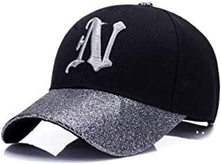 MKJNBH Ladies Letter Embroidered Baseball Cap Sequins Fashion Casual Curved Girls Can Adjust Hip Hop Hats