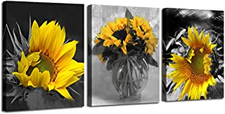 Ardemy Canvas Wall Art Flowers Yellow Sunflower Painting Prints, 3 Panels Florals Black and White Modern Pictures for Bedroom Bathroom Living Room Spa Salon Wall Decorations, 12
