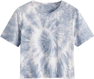 SheIn Women's Casual Short Sleeve Tie Dye Summer Basic Crop Tee Tops Shirt