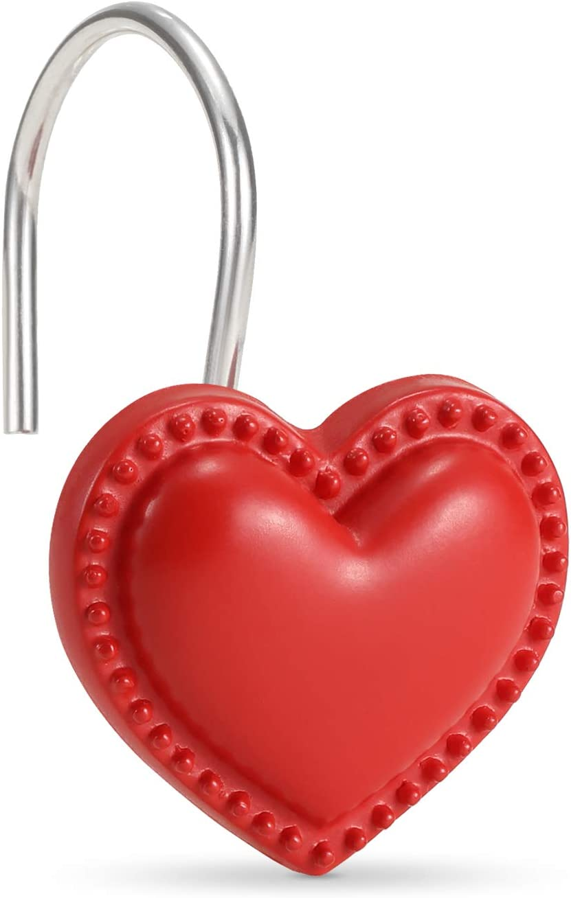 CHICTIE Red Heart Shower 4 years warranty Curtain Soldering Hooks 12 Rings Decorativ Set of