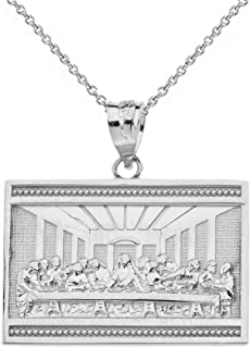 Sterling Silver The Last Supper of Jesus with His Disciples Pendant Necklace