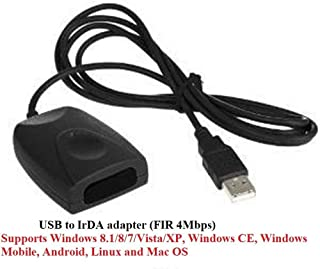 EMEBAY - Upgraded USB to IrDA adapter (FIR 4Mbps) USB to IrDA Infrared Adapter for PC, PDA, Mobile Phone, Camera, Printer, Scanner, etc / Supports Windows 8.1/8/7/Vista/XP, Windows CE, Windows Mobile, Android, Linux and Mac OS (USB to IrDA adapter (FIR 4Mbps))