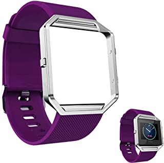 DECVO for Fitbit Blaze Bands, Silicone Replacement Band Strap with Stainless Steel Frame Case for Fitbit Blaze Smart Fitness Watch for Women Men Girls Boys Sliver Case (Purple, 1 PC)