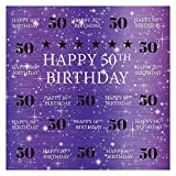 Funnytree Purple Golden 50th Birthday Photography Backdrop Lady Woman Step Repeat Gold Glitter Shiny Background Fifty Years Old Age Party Decorations Portrait Photo Banner Photobooth Props 6x6ft