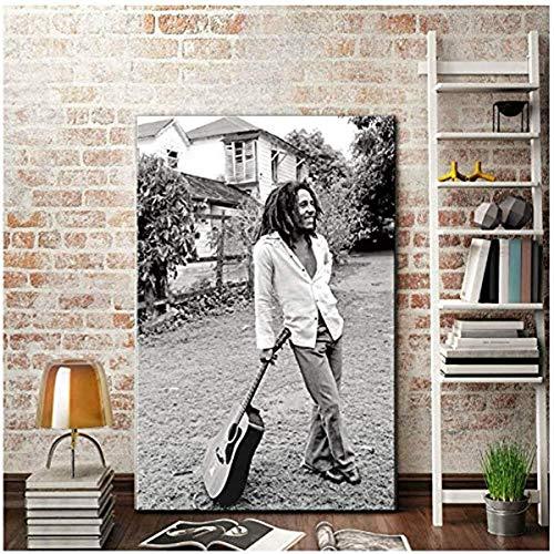 pagsundog Moderne Malerei Bob Marley Schwarz-Weiß-Bilder Leinwand Kunstdruck Gestreckte Kunstwerk Wohnzimmer Große Wandkunst Dekor 50x75cm NoFramed